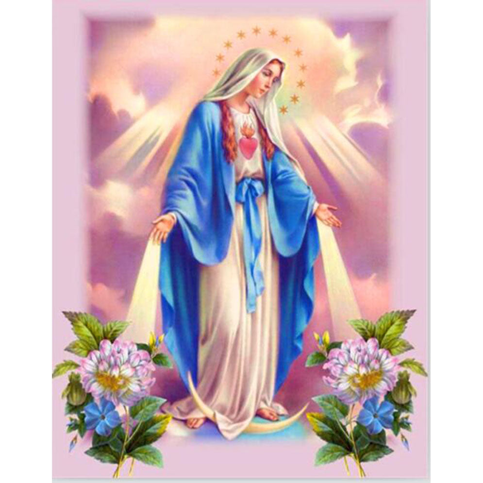 Diamond Painting - Blessed Virgin Mary - Floating Styles - Diamond Embroidery - Paint With Diamond