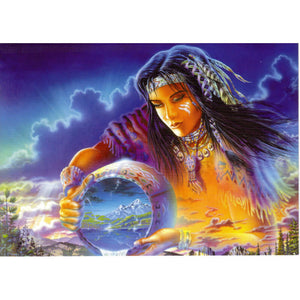 Diamond Painting - The Spirit Of Native American - Floating Style - Diamond Haft - Paint With Diamond