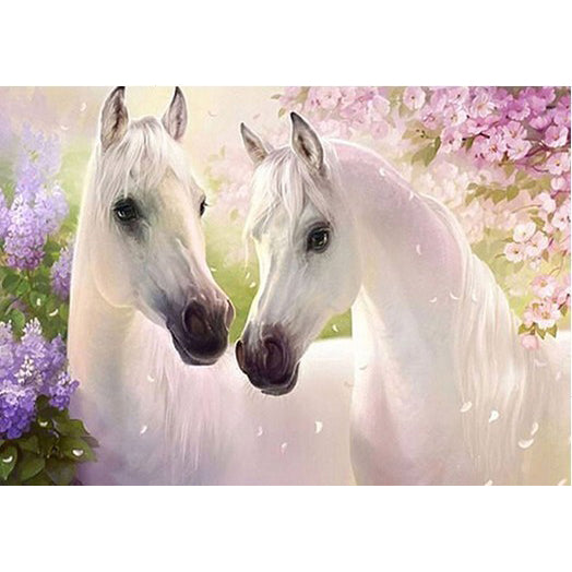 Diamond Painting - Miracle White Horses - Floating Styles - Diamond Embroidery - Paint With Diamond