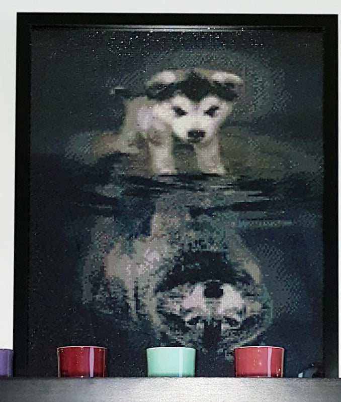Diamond Painting - Courage: Dog Or Wolf - Floating Styles - Diamond Embroidery - Paint With Diamond