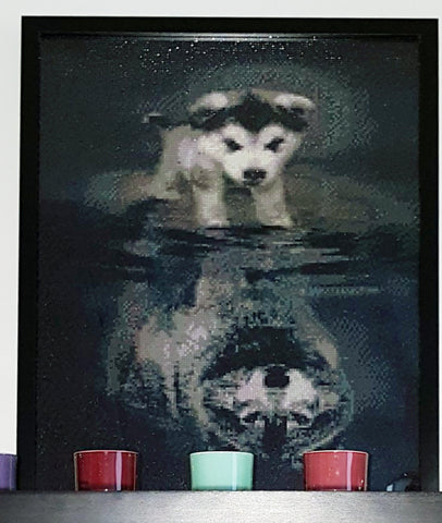 Immagine di Diamond Painting - Courage: Dog Or Wolf - Stili fluttuanti - Diamond Embroidery - Paint With Diamond