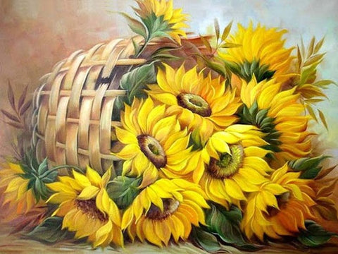 Obraz Daimond Painting - Sun Flower in Basket - Floating Style - Diamond Haft - Paint With Diamond