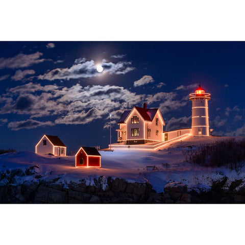 Pintura Diamante - Snowy LightHouse - Estilos Flutuantes - Diamante Bordado - Tinta Com Diamante