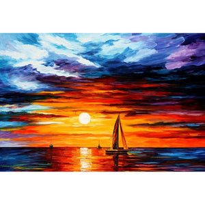 Diamond Painting - Zonsondergang en de boot