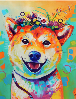 Diamond Painting - Shiba Inu - Floating Styles - Diamond Embroidery - Paint With Diamond