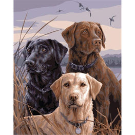 Diamond Painting - Three Labrador - Floating Styles - Diamond Embroidery - Paint With Diamond