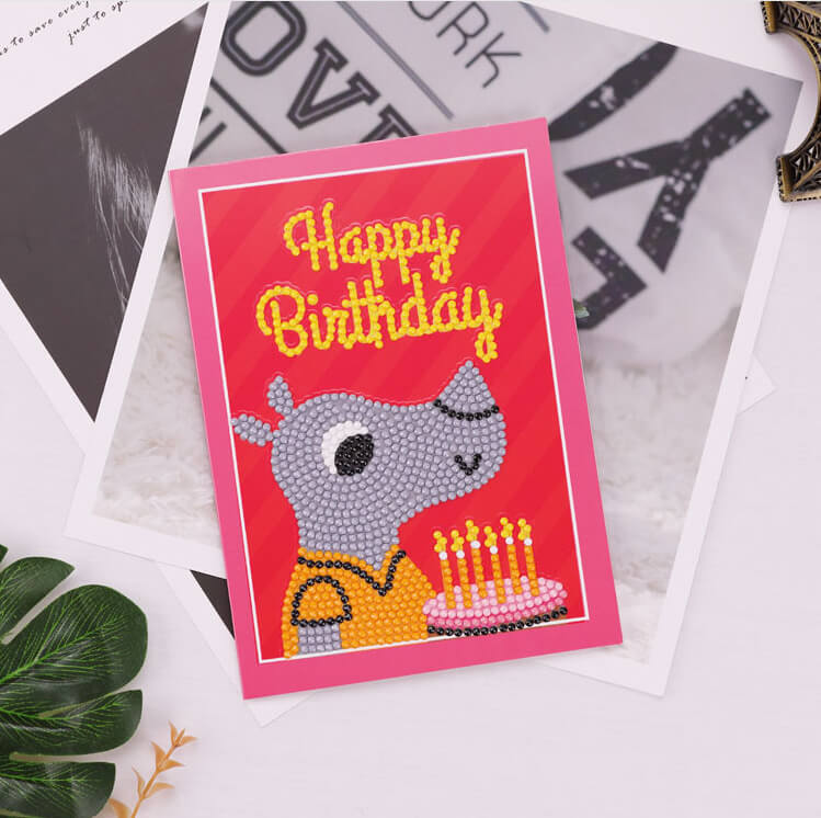 Diamond Painting Greeting Card - Happy Brithday - A01