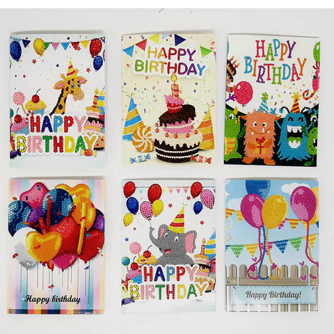 Bild av Diamond Painting Greeting Card - Happy Brithday - Kort Set B