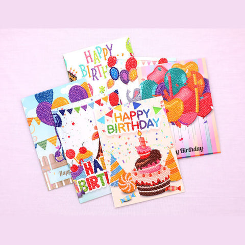 Greeting Card Diamond Painting - Happy Brithday - Set di carte B