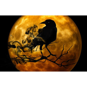 Diamond Painting - Halloween Crow in the Moon - Floating Styles - Diamond Embroidery - Paint With Diamond