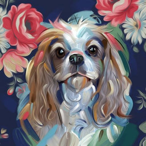 Diamond Painting - Cavalier King Charles Spaniel - Stili galleggianti - Diamante Ricamo - Dipingi con diamante