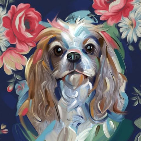 Beeld van Diamond Painting - Cavalier King Charles Spaniel - Floating Styles - Diamond Embroidery - Paint With Diamond
