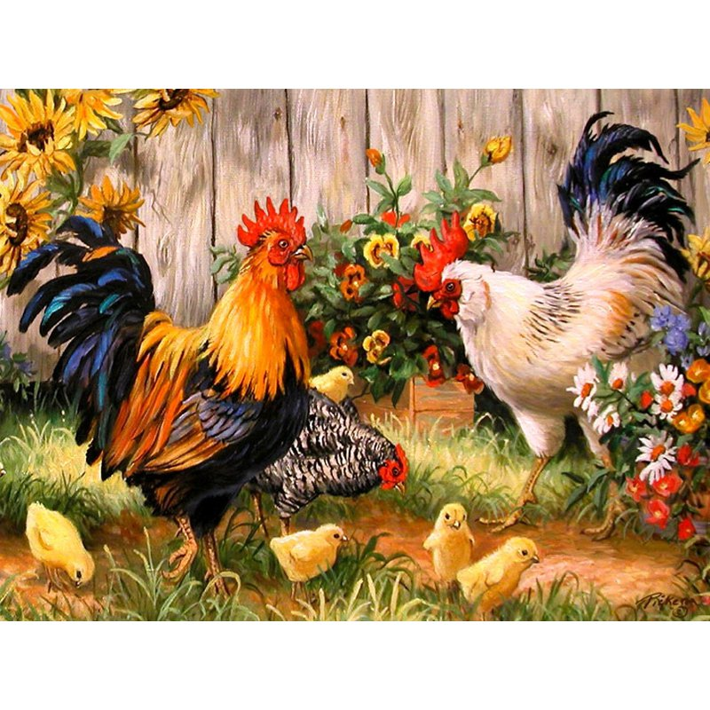 Diamond Painting - Rooster - Floating Styles - Diamond Embroidery - Paint With Diamond