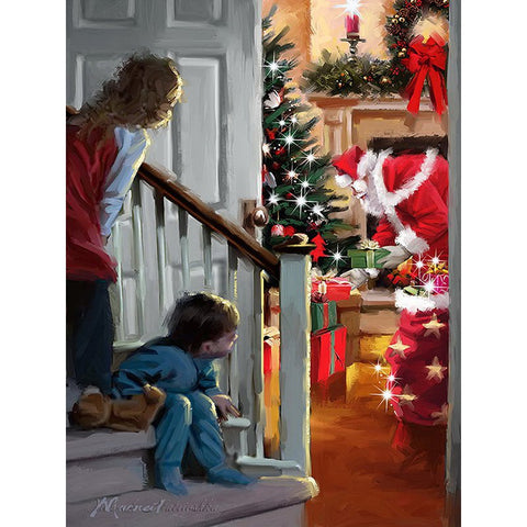 Image of Diamond Painting - Shh! Santa's Here - Floating Styles - Diamond Embroidery - Paint With Diamond