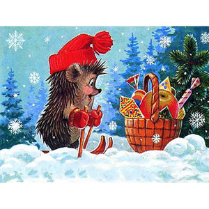 Diamond Painting - Christmas Hedgehog - Floating Styles - Diamond Embroidery - Paint With Diamond
