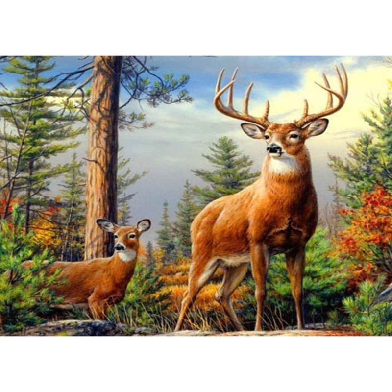 Diamond Painting - Forest Deers - Floating Styles - Diamond Embroidery - Paint With Diamond