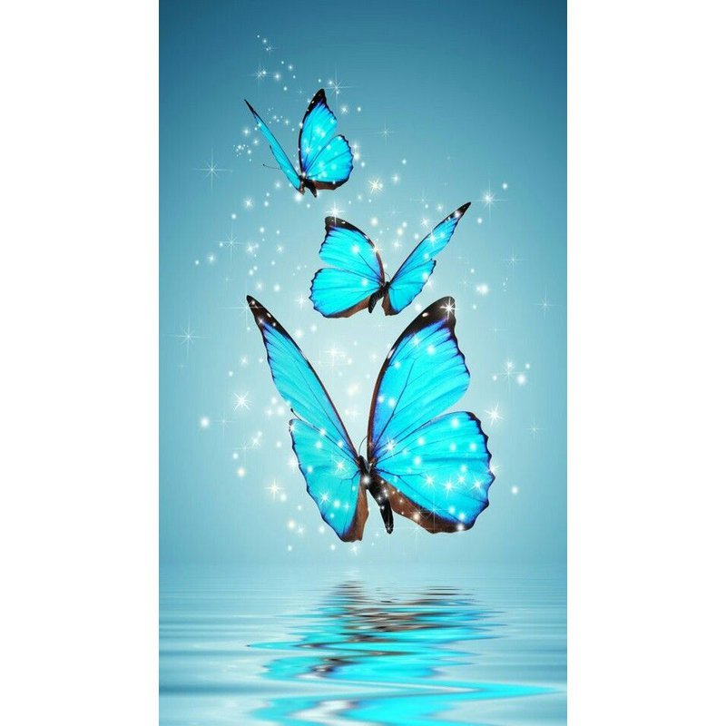 Diamond Painting - Blue Butterflies - Floating Styles - Diamond Embroidery - Paint With Diamond