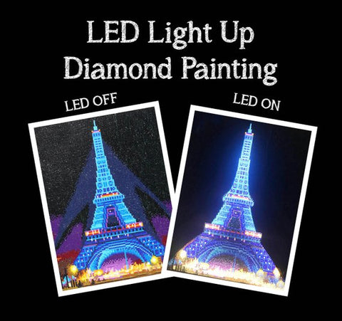 Image of LED Light Diamond Painting Full Round Drill 30x40cm
