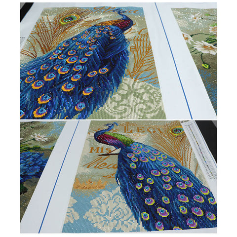 Image of 3 Panels Diamond Painting - Peacock And Flower - Floating Styles - Diamond Embroidery - Paint With Diamond