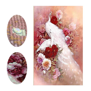 Diamond Painting - White Peacock And Flower - Floating Styles - Diamond Embroidery - Paint With Diamond