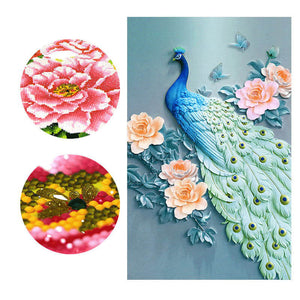 Diamond Painting - Peacock And Peony - Stili fluttuanti - Ricamo a diamante - Dipingi con diamante