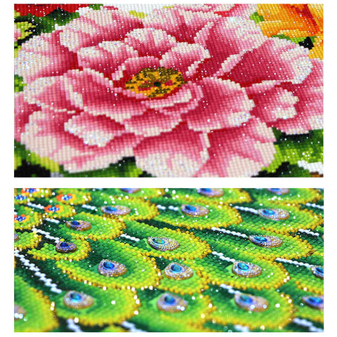Image of Diamond Painting - Peacock And Peony - Floating Styles - Diamond Embroidery - Paint With Diamond