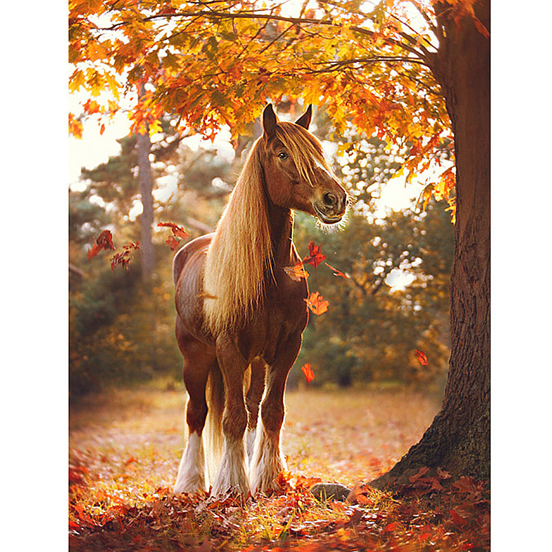 Diamond Painting - Mini Horse In Maple Leaves - Floating Styles - Diamond Embroidery - Paint With Diamond