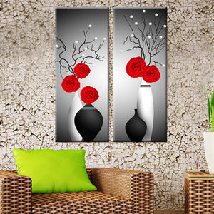 Diamond Painting -  Red Rose in Vase - Floating Styles - Diamond Embroidery - Paint With Diamond