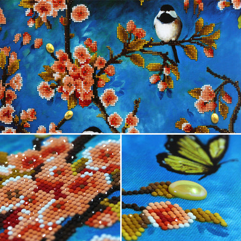 Obraz 2 Panels Diamond Painting - Spring Birds (Partial Pasted) - Floating Style - Diamond Haft - Paint With Diamond