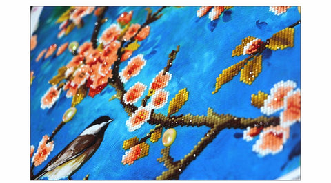 Imagem de 2 Painéis Diamond Painting - Spring Birds (Colado Parcial) - Estilos Flutuantes - Diamond Embroidery - Paint With Diamond