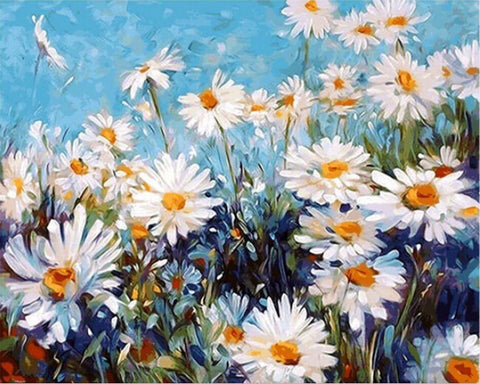 Paint by Numbers - Feverfew Field - Floating Styles - Diamond Embroidery - Paint With Diamond