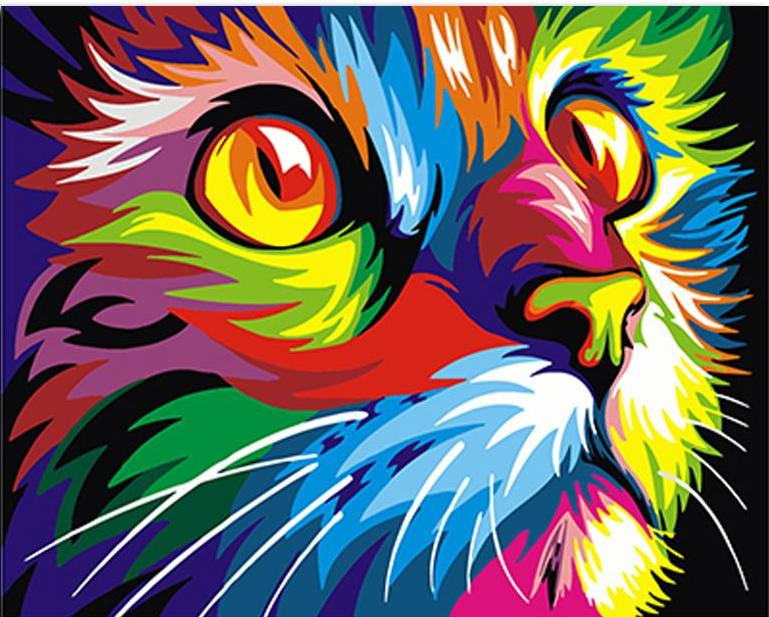Paint by Numbers - Psychedelic Cat - Floating Styles - Diamond Embroidery - Paint With Diamond