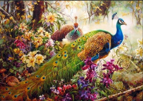 Immagine di Paint By Numbers - Peacock & Blossom - Stili fluttuanti - Ricamo a diamante - Dipingi con diamante