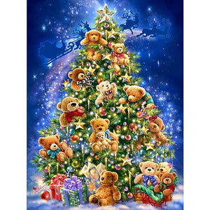 Diamond Painting - Christmas Teddy Bears Tree - Drijvende stijlen - Diamond Embroidery - Paint With Diamond