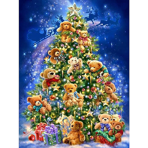 Afbeelding van Diamond Painting - Christmas Teddy Bears Tree - Drijvende stijlen - Diamond Embroidery - Paint With Diamond