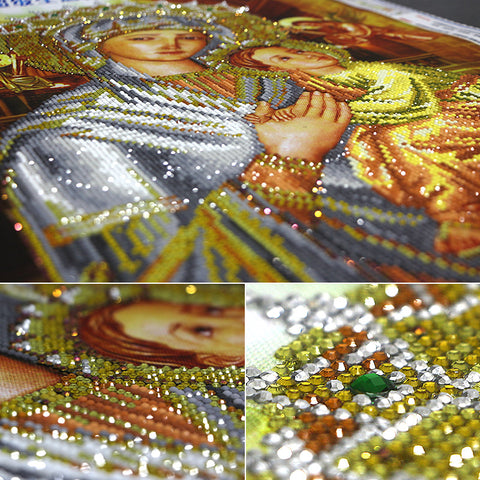Image of Diamond Painting - La Vierge et l'Enfant (zone de collage partielle) - Styles flottants - Broderie Diamond - Peinture au diamant