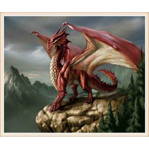 Immagine di Diamond Painting - Red Dragon - Stili fluttuanti - Diamond Embroidery - Paint With Diamond