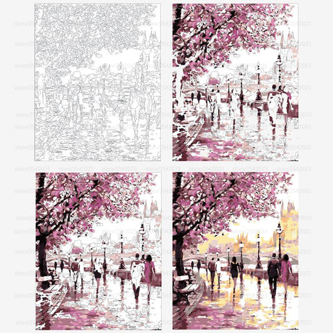 Paint By Numbers - Sakura Street - Floating Styles - Diamond Embroidery - Paint With Diamond