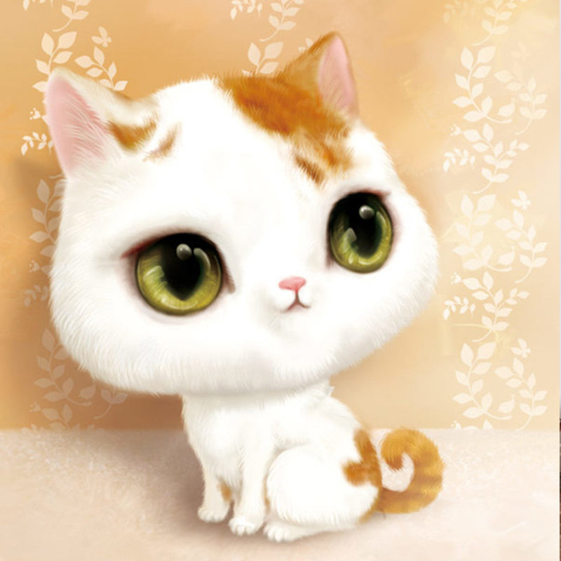 Diamond Painting - Innocent Cat - Floating Styles - Diamond Embroidery - Paint With Diamond