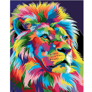 Paint by Numbers - Aurora Lion - Floating Styles - Diamond Embroidery - Paint With Diamond