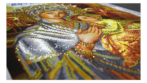 Diamantmaleri - The Virgin og Child (Partial Pasting Area) - Flytende stiler - Diamantbroderi - Maling med Diamond