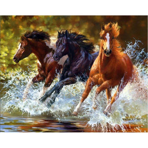 Diamond Painting - Galloping Steeds - Stili galleggianti - Diamante Ricamo - Dipingi con diamante