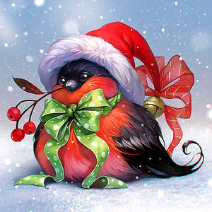 Diamond Painting - Christmas Fun Bird - Floating Style - Diamond Haft - Paint With Diamond