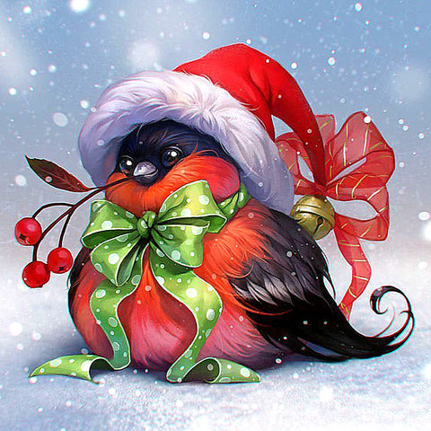 Afbeelding van Diamond Painting - Christmas Fun Bird - Drijvende stijlen - Diamond Embroidery - Paint With Diamond