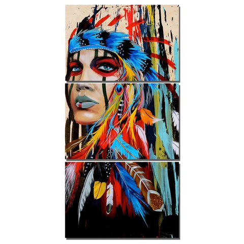 3 Panels Diamond Painting - Native American - Floating Style - Diamond Haft - Paint With Diamond