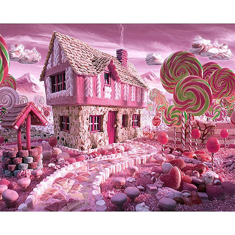 Afbeelding van Diamond Painting - Pink Candy House - Drijvende stijlen - Diamond Embroidery - Paint With Diamond