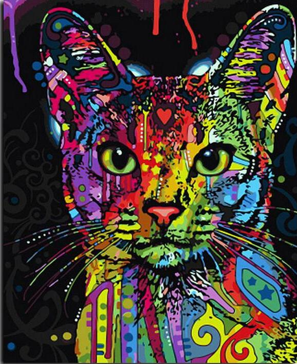 Paint by Numbers - Totem Cat - Floating Style - Diamond Haft - Paint With Diamond