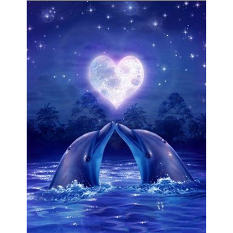 Afbeelding van Diamond Painting - Love Dolphins - Floating Styles - Diamond Embroidery - Paint With Diamond