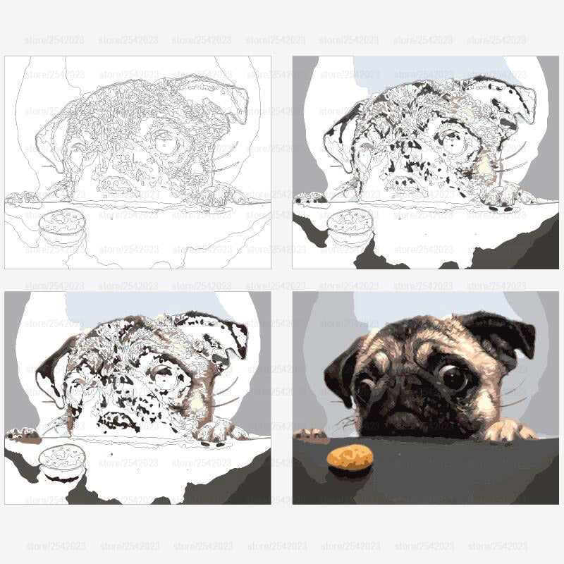 Paint by Numbers - I Wanna Eat! Dog And Cake - Floating Styles - Diamond Embroidery - Paint With Diamond