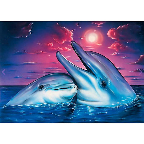 Obraz malarstwa diamentowego - Happy Dolphins - Floating Style - Diamond Haft - Paint With Diamond
